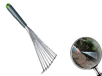 Fächerbesen 390 mm mit 9 Zinken aus Metall mit Kunststoffgriff
