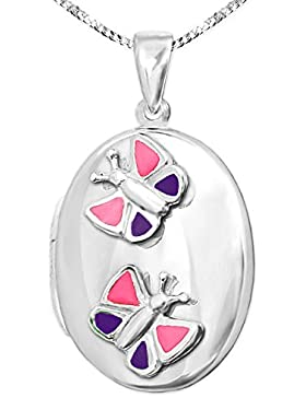 CLEVER SCHMUCK-SET Silberner Anhänger Kinder Medaillon 22 mm oval mit Schmetterling pink violett lackiert glänzend...