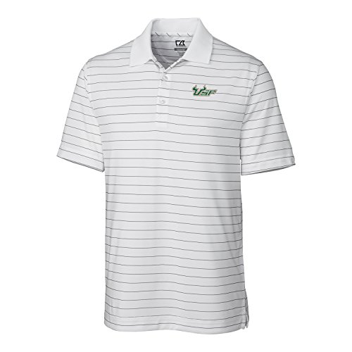 Cutter & Buck NCAA Herren CB Dry Tec Franklin Stripe Poloshirt, Erwachsene, Herren, NCAA Men's Franklin Stripe Polo Tee, weiß, X-Large -