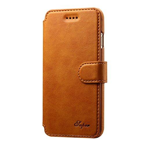 Phone case & Hülle Für iPhone 6 Plus / 6s Plus, Rindsleder Textur Horizontale Flip Leder Tasche mit Halter & Crad Slots & Wallet ( Color : Dark blue ) Brown