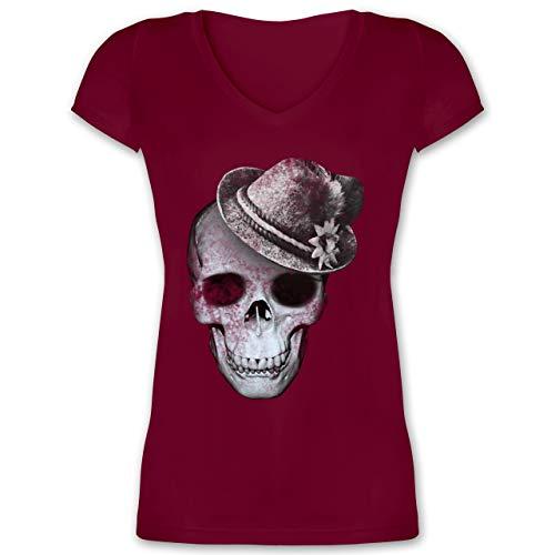 Oktoberfest Damen - Totenkopf mit Filzhut - L - Bordeauxrot - XO1525 - Damen T-Shirt mit V-Ausschnitt