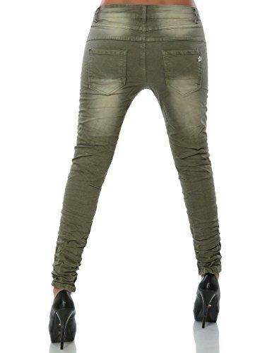 Damen Boyfriend Jeans Hose Reißverschluss Knopfleiste (weitere Farben) No 15479 Khaki