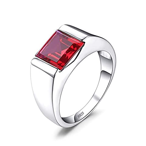 Jewelrypalace Men's 3.4ct Red Created Ruby Ring Solid 925 Sterling Silver Size P