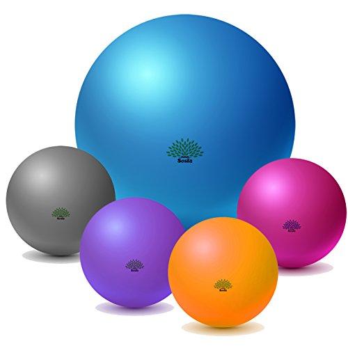 Sosila Gymnastikball, anti burst, Yogaball, Pilatesball, Fitnessball, Sitzball mit Pumpe, rutschfest, berstsicher von 65cm und 75cm, 150kg Maximalbelastbarkeit, Pezziball Swissball als Fitness Kleingeräte und Balance Stuhl, ideal für Rehasport, Balanceübungen, Koordinationsübungen, Schwarz, Lila, Pink und Blau (Blau, 85cm)
