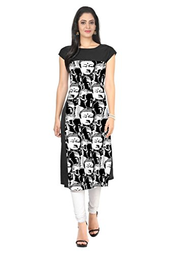 Ziyaa Black Colour Boat Neck With Cap Sleeve Faux Crepe Digital Print Kurti  available at amazon for Rs.499