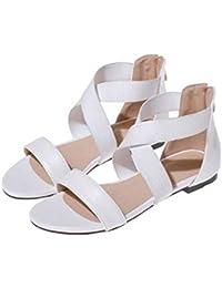 Beauqueen Sandalias Mujer Verano Bombas Pintar Cremallera Plano Imitación De Cuero Zapatos De Ocio Femenino Especial Tamaño Europa 33-42 , white , 41 (not returned)
