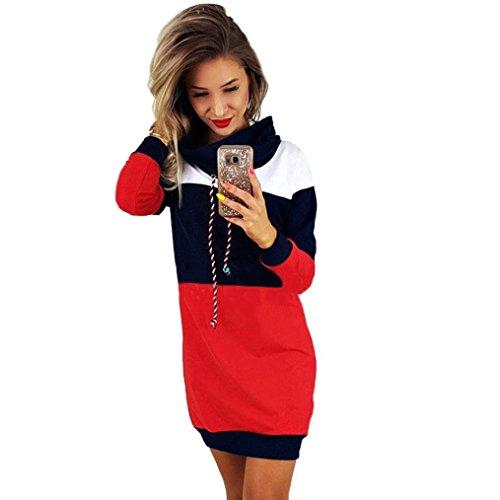 OIKAY Frauen Kragen Langarm Kleid Damen Casual Bodycon Short Mini Sommerkleid Rock