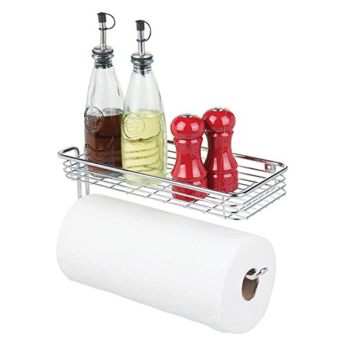 mDesign – Portarrollos de papel de cocina de pared – Soporte para papel higiénico con bandeja – Moderno accesorio de baño y de cocina – Color: plateado