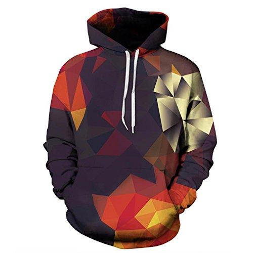 Männer/Frauen Hoodies mit Hut Hoody Print Color Blocks Herbst Winter Dünne 3D-Sweatshirts mit Kapuze Kapuze Tops YXQL 261 S (Sweatshirt Hoody Block)
