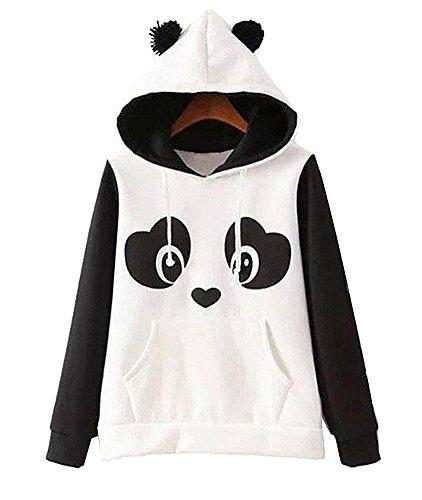 GGTFA Frauen Herbst Winter Panda Muster Weicher Langarm-Pullover Mit Kapuze Hoody Pullover Oberbekleidung Mantel L