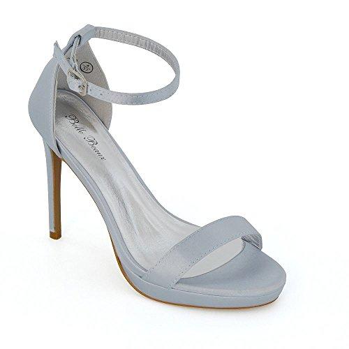 ESSEX GLAM Donna Tacco Basso Peep Toe Stiletto Satinato Cinturino alla Caviglia Sandalo Argento Satinato