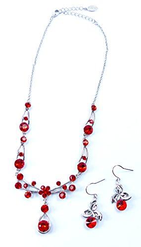 Tillberg Schmuck-Set rot mit Swarovski-Steinen edle Damen Hals-Kette und Ohrringe Swarovski-Stein besetzt ROT 5311