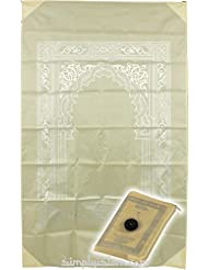 Islamic Travel Pocket Prayer Mat Rug with Compass (Hajj) - CREAM Mat Qibla Finder Compass. Features metal inserts in corners by Simplyislam