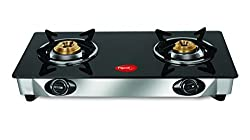 Pigeon Favourite Glass 2 Burner Gas Stove, Black