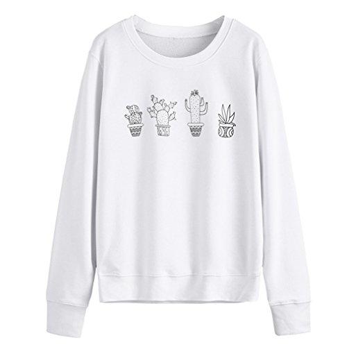 Vovotrade Frauen Langarm Kaktus Print Solid Print Kapuzenpulli Pullover Tops (Size:L, Weiß)