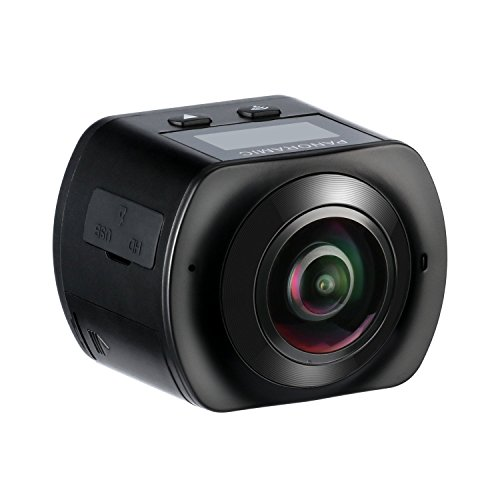 Mixmart Action Camera, Full HD 2448x2448 30fps, Impermeabile, Lente Fish-eye 220°, Visione Panoramica 360°, WIFI e Kit Accesori con 2 Batterie