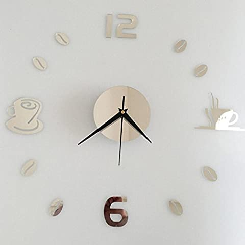 Wall Clocks,Clode® Modern Colorful Stylish Elegant Silent Removable Diy Acrylic 3D Mirror Non-ticking Home Kitchen/Living Room Wall Clock Sticker (Silver)