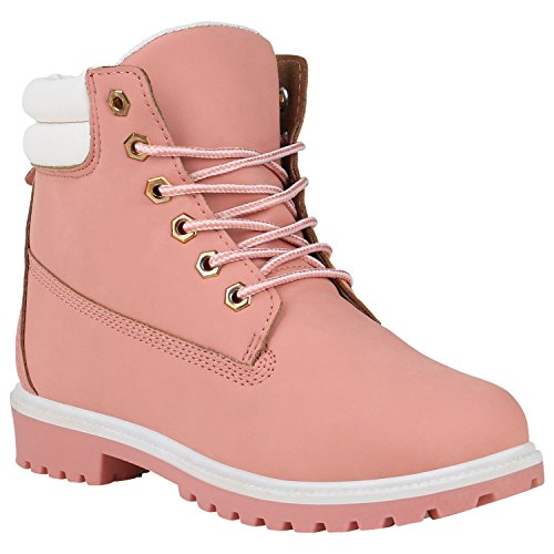 Stiefelparadies Damen Schuhe Stiefeletten Outdoor Worker Boots Gesteppt 150495 Rosa Bernice 39 Flandell (Schuhe Gesteppte)