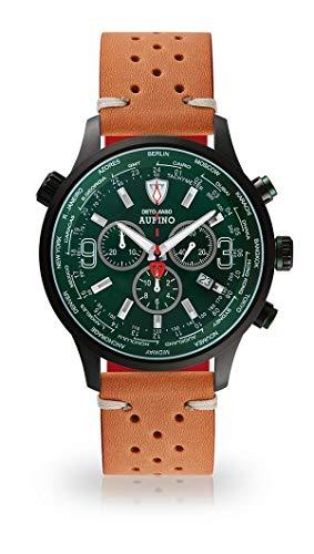 DETOMASO AURINO Racing Montre pour Hommes Chronographe Chronographe Analogique Quartz Brun Vintage Bracelet en Cuir Vert Cadran Vert DT1061-N-844