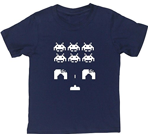 Children's Space Invaders Tee in 10 Colours - 3 to 11 Yrs