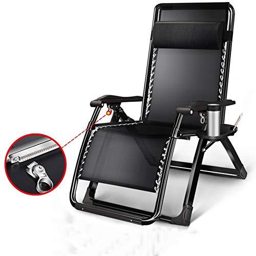 Liegestuhl Übergroße Verstellbare Schwerelosigkeit Lounge Chair, Schwere Faltbare Erweitern Terrasse Getränkehalter Und Kopfstütze, Schwarz