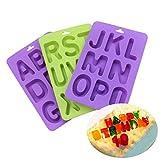 BAKER DEPOT Silikonform für Schokolade, Süßigkeiten, Kekse, Gebäck, Backform, Eiswürfel, DIY Kerze, Geburtstagskuchen, Dekoration, Form Buchstaben A-Z, 3 Stück, zufällige Farben