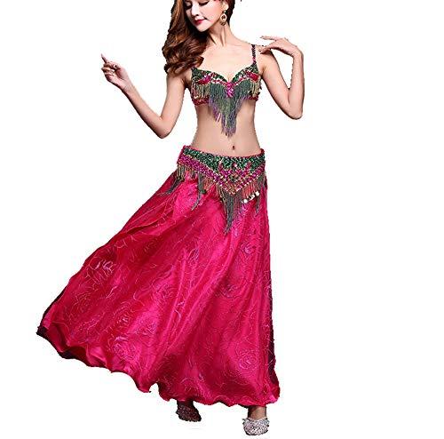 CPH20 Indian Dance Bra Set Quaste Professionelle Bauchtanz-BH und Gürtel Tanzen Röcke Tanzfee, Tanzleben. (Farbe : Rot, Größe : - Black Indian Girl Kostüm