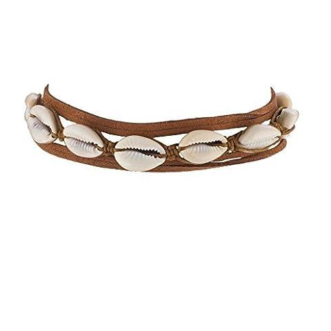 Lux Accessories Brown Cord Suede Tribal Hawaiian Puka Shell Headwrap Headband