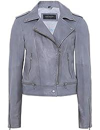 Oakwood Mujeres chaqueta de motorista de cuero de Sidonie Gris