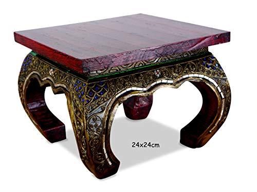 livasia Opiumtisch mit Glasmosaikverzierungen, Beistelltisch aus Holz, Nachttisch, asiatischer Hocker, Podest (24cm)