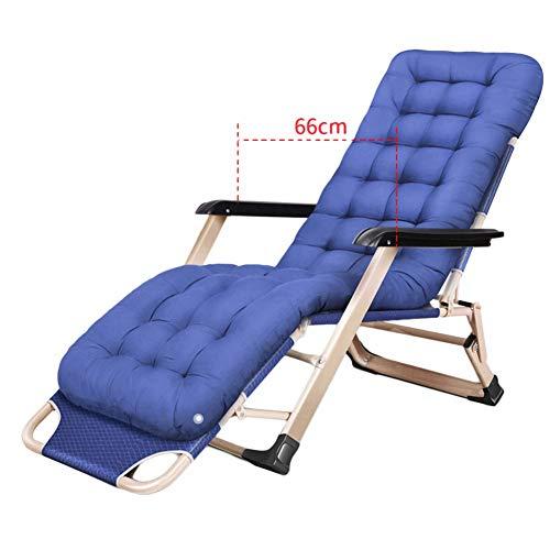 Liegestuhl Heavy Duty Patio Reclining Kissen, Folding Tragbarer Stuhl für Strand, Schwimmbad, Garten, Im Freien und Innenaufnahme, Unterstützung 240kg (Farbe : Blau)
