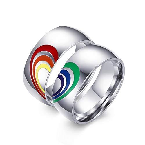 VJUKUBCUTE EIN Paar 8 Mm Titan Edelstahl Regenbogen Herz-Emaille LGBT Pride Ring Für Lesben & Schwule Hochzeit Engagement Band, Größe US 6-12,9