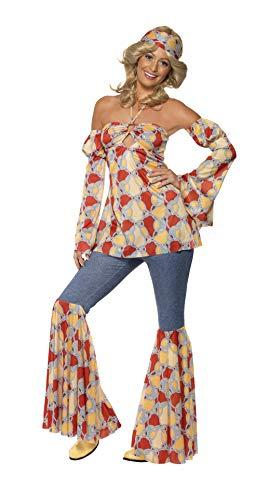 Smiffys 39434X1 - Damen Vintage Hippie 70er Jahre Kostüm, Neckholder Top, Ärmel, Schlaghose und Kopfband, Größe: 48-50, ()
