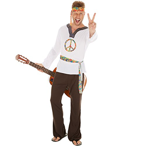 Herrenkostüm Hippie Jimmy | Shirt mit Peace-Zeichen | Schlaghose mit Gummiband | inkl. Haarband und Bindegürtel (S | Nr. 300952) ()