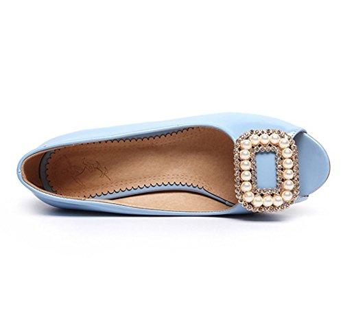COOLCEPT Damen Mode Slip On Pumps Peep Toe Blockabsatz Schuhe Gr Blau