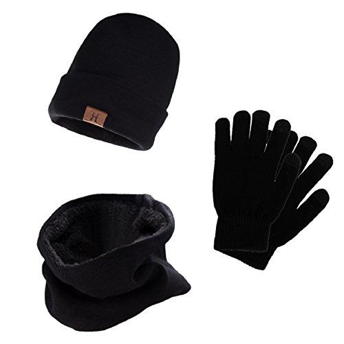 heekpek Bufanda Gorro Guantes para Hombre Invierno Regalos para Hombre Mujer Unisexo Set de Bufanda Conjunto de Guantes de Punto BufaSombrero de Invierno Gorras Con Bufanda (Negro)