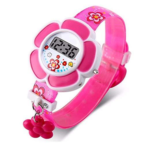 Kinder-Armbanduhr, niedliche Kinder-Uhren, Cartoon-Design, niedliche Silikon-Digital-Armbanduhr für Jungen und Mädchen Free Size rosarot