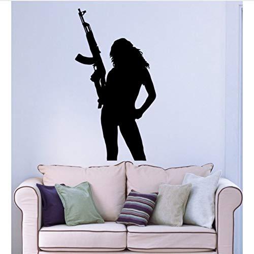 Ysain Wandaufkleber Vinyl Aufkleber Waffe Frauen Soldat Bild Wandtattoos Für Mädchen Zimmer Soldat Soldat Wandbild 42 * 79 Cm