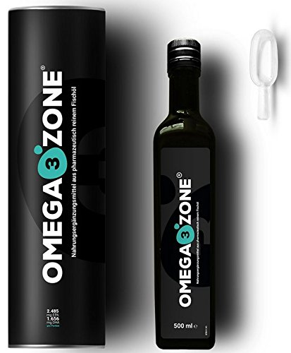 Omega 3 Fischöl flüssig zur Leistungssteigerung | hochdosiert: 4694 mg pro Portion | mit Zitronengeschmack | 500 ml | Omega3 Zone Omega Drei Flüssigen
