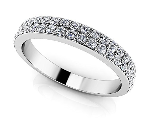 Or blanc 14K Splendid Romance double rangée Diamant Mariage Band