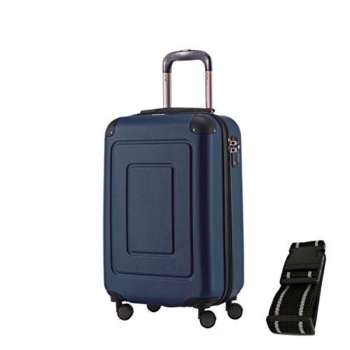Happy Trolley Koffer Lugano, 55 cm, 44L, Dunkelblau +Gepäckgurt
