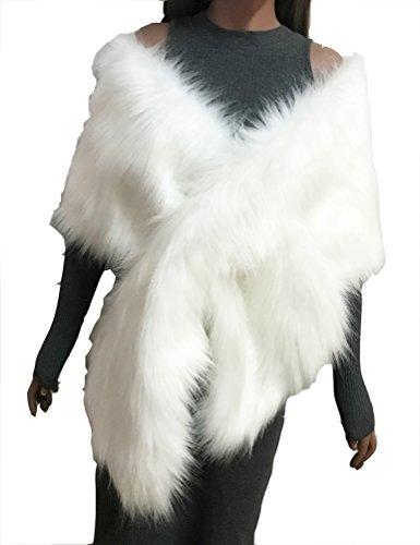 Damen Kunstpelz Cape Poncho Braut Hochzeitskleid Schal Winter Plüsch Warme