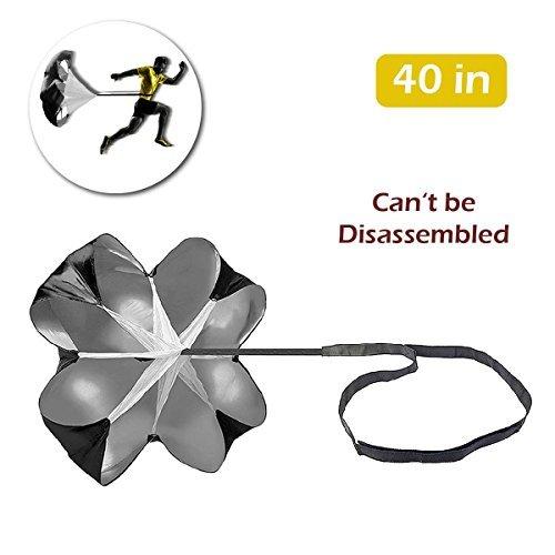 Triwonder 40/56 Zoll Geschwindigkeit Ausbildung Widerstand Fallschirm Lauf Sprint Chute für Fußball Fußball Sport Power Geschwindigkeit Training & Fitness Core Krafttraining (Schwarz - 40in)