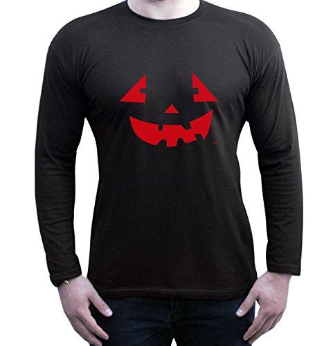 Halloween Langarm-Shirt Fun Motiv Pumpkinface für Herren, Männer, Geschenk-idee Party-Outfit Kostüm Hexen Gespenster Geister Farbe: schwarz Schwarz