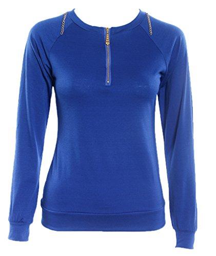 Bigood Pull-over Femme Pull Manche Longue Col Rond Sweat-shirt Zippé Casual Automne Hiver Bleu