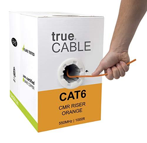 Cat6-riser (TrueCABLE Cat6-Riser (CMR), 23AWG 4 Paar Solid Blank-Kupfer, 550 MHz, ETL-gelistet, ungeschirmtes Twisted Pair UTP, Bulk Ethernet-Kabel orange Orange 1000ft)