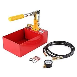 FIXKIT Abdrückpumpe, Prüfpumpe, Druckprüfpumpe, Befüllpumpe, Heizleckdruckprüfpumpe, Druckprobepumpe (5 Liter-rot)