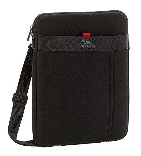Riva Schutz Tasche Hülle Case Cover Sleeve-wasserabweisend,Außenfach f. Zbr,Abnehmbarer Schultergurt Schwarz für MSI WindPad 100A