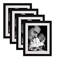 WOOD MEETS COLOR A3-Black Picture Frames with Real Wood and Real Glass, Include White Picture Mat, Made to Display Pictures A3 Paper Without Mat or 8.5x11 Paper Inch Photo with Mats 8x10 Black