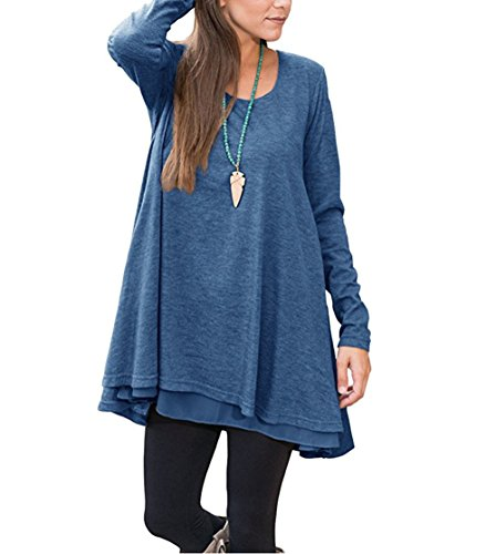 Winfon Damen Tunika Große Größen Langarm Casual Lang Top Blumen Tee shirt (Blau, 3XL) (Pullover Damen Tunika)